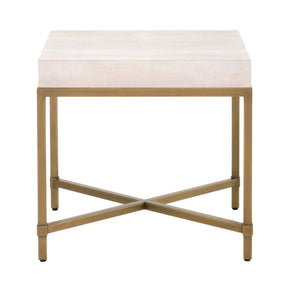 Orient Express Furniture 6118.WHT-SHG/GLD Strand Shagreen End Table White Shagreen, Brushed Gold