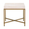Strand End Table White Shagreen, Brushed Gold