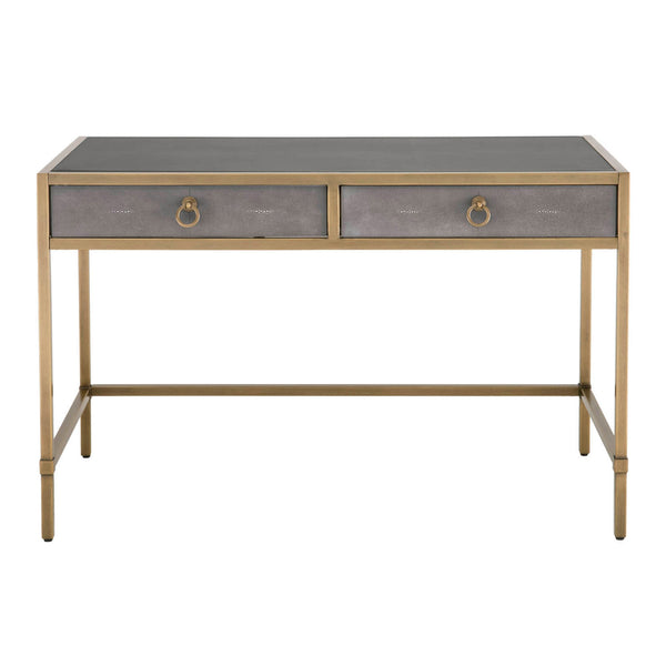 Orient Express Furniture 6124.GRY-SHG/GLD Strand Shagreen Writing Desk Gray Shagreen, Brushed Gold