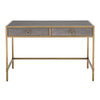 Strand Shagreen Writing Desk Gray Shagreen, Brushed Gold