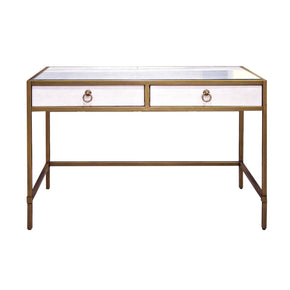 Office Desks - Orient Express Furniture 6124.WHT-SHG/GLD Strand Shagreen Writing Desk White Shagreen, Brushed Gold | 842279109417 | Only $1129.00. Buy today at http://www.contemporaryfurniturewarehouse.com
