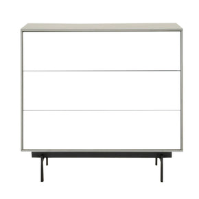 Star International Furniture 1403-BU.MLG/WHG/B Symphony 3-Drawer Modular Buffet Matte Light Grey, White High Gloss, Black