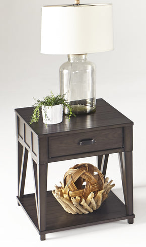 Progressive Furniture T425-04 Consort Transitional Rectangular End Table Midnight Oak