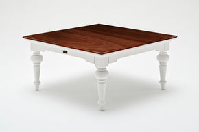Provence Accent Square Coffee Table White w/ Brown wood veneer top