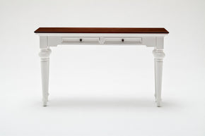 Provence Accent Console Table White w/ Brown wood veneer top