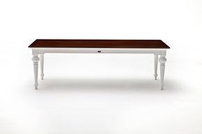 Provence Accent 240 Dining Table White w/ Brown wood veneer top