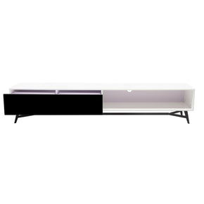 Diamond Sofa TEMPOTVWHBL Tempo 2-Tone Low Profile Entertainment Cabinet in White Lacquer Finish with Black Lacquer Drawer Front and Black Powder Coated Legs