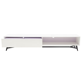 Diamond Sofa TEMPOTVWH Tempo Low Profile Entertainment Cabinet in White Lacquer and Black Powder Coated Legs