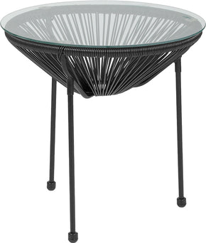 outdoor side tables - Flash Furniture TLH-094T-BLACK-GG Valencia Oval Comfort Series Take Ten Rattan Table with Glass Top | 889142892779 | Only $65.80. Buy today at http://www.contemporaryfurniturewarehouse.com