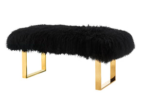 Tov Furniture TOV-O121 Sherpa Black Sheepskin Bench