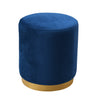 Opal Navy Velvet Ottoman with Gold Base