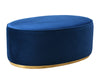 Scarlett Oval Navy Ottoman With Glimmering Gold Base