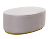 Scarlett Oval Blush Ottoman With Glimmering Gold Base