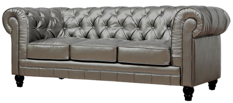 Zahara Silver Leather Sofa | Modern Sofa by Tov Furniture at Contemporary Modern Furniture  Warehouse - 1