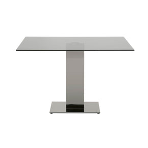 Star International Furniture E.2896DT.SGRY/BSS Tower Dining Table Black Stainless Steel, Smoke Grey Clear Glass