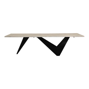 Dining Tables - Moes Home Collection VE-1078-24 Bird Dining Table Large Solid Oak And Ergonomic Iron Base | 840026404846 | Only $2575.00. Buy today at http://www.contemporaryfurniturewarehouse.com