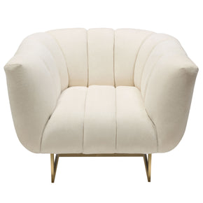 Diamond Sofa VENUSCHCM Venus Cream Fabric Chair w/ Contrasting Pillows & Gold Finished Metal Base