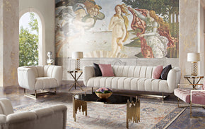 Diamond Sofa VENUSSCCM Venus Cream Fabric Sofa & Chair 2PC Set w/ Contrasting Pillows & Gold Finished Metal Base