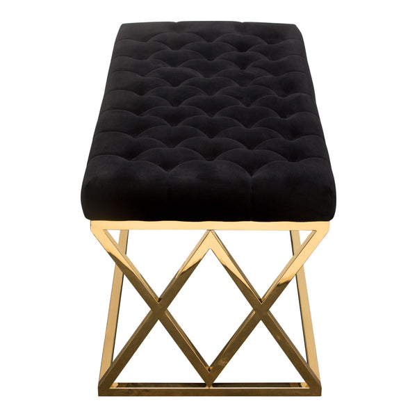 Sensational Buy Diamond Sofa Vixenbebl Vixen Accent Bench With Black Tufted Velvet Seat And Polished Gold Stainless Steel Base At Contemporary Furniture Warehouse Lamtechconsult Wood Chair Design Ideas Lamtechconsultcom