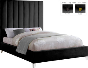 Meridian Furniture ViaBlack-F Via Black Velvet Full Bed 704831403374