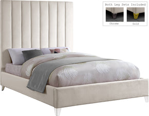 Meridian Furniture ViaCream-F Via Cream Velvet Full Bed 704831403411