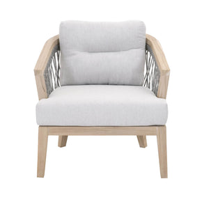 Orient Express Furniture 6821.PLA/PUM/GT Web Outdoor Club Chair Platinum Rope, Pumice Fabric, Gray Teak