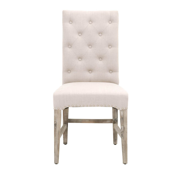 Orient Express Furniture 6027.NG/STO-SLV Wilshire Dining Chair (Set of 2) Stone Fabric, Natural Gray | Solid Acacia, 20/80 Cotton/Poly, Silver Nails