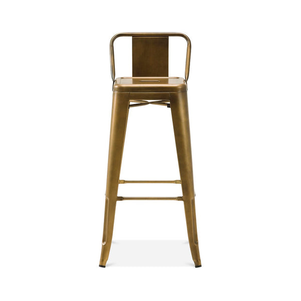 Dreux Vintage Brass Steel Low Back Barstool 30 Inch (Set of 4)