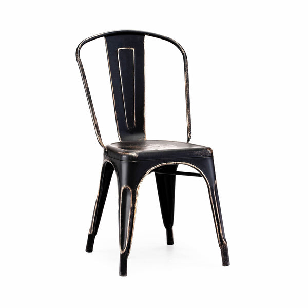 DesignLab MN LS-9000-2-BLKGLD Dreux Vintage Matte Black Gold Stackable Side Chair (Set of 2) 655222620385