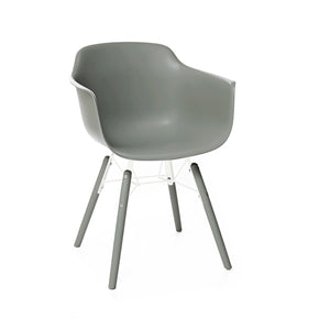 DesignLab MN LS-9344-MGRY Grazia Moss Grey Mid Century Arm Chair PP Base Original Design (Set of 4) 655222620798