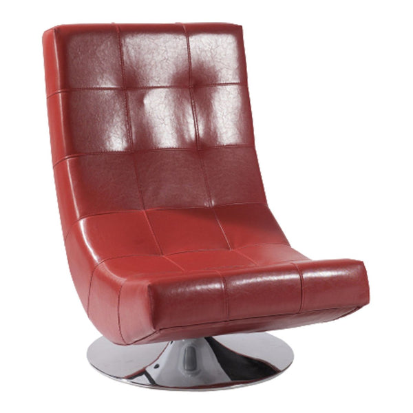 Mario Swivel Chair Red Bonded Leather Accent