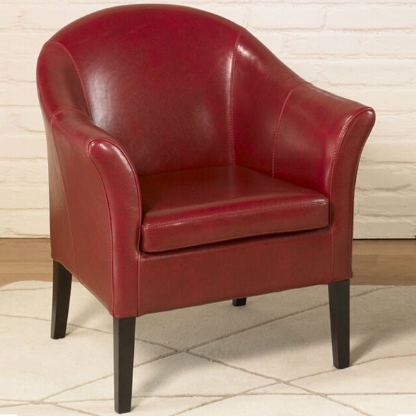Leather Club Chair Red Accent