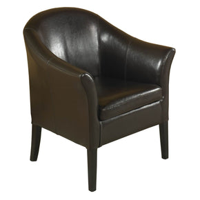 Leather Club Chair Brown Accent