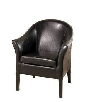 Leather Club Chair Black Accent