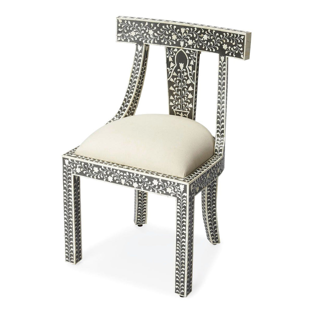 Victorian Garden Traditional Bone Inlay Accent Chair Black