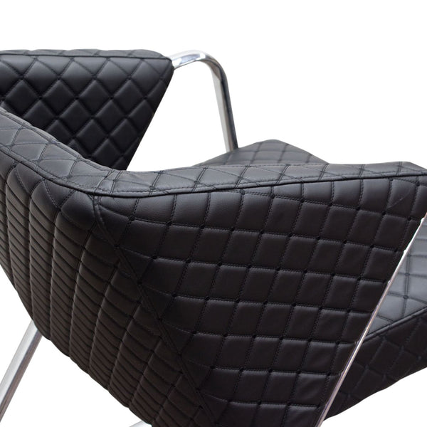 ... Retro Accent Chair With Diamond Tufted Quilt And Chrome Frame   Black  ...