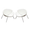 Roxy White Leatherette Accent Chair with Chrome Frame (set of 2)