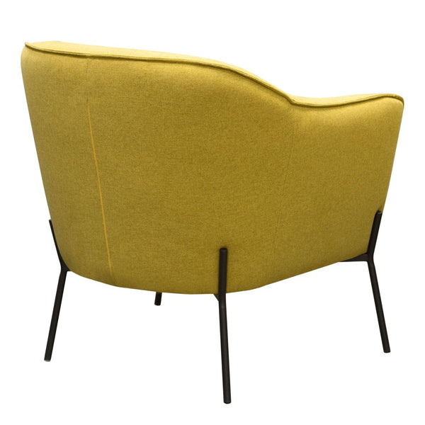 Status Accent Chair In Yellow Fabric With Metal Leg