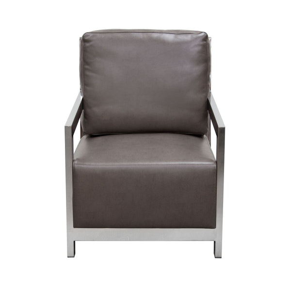 Zen Accent Chair W/ Stainless Steel Frame   Elephant Grey ...