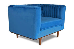 Laurel Velvet Accent Chair Aqua Blue