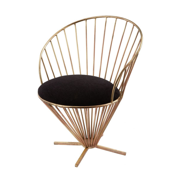 Iron Taper Wire Chair In Gold And Black Accent