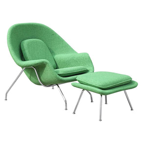 Woom Chair And Ottoman Green Accent