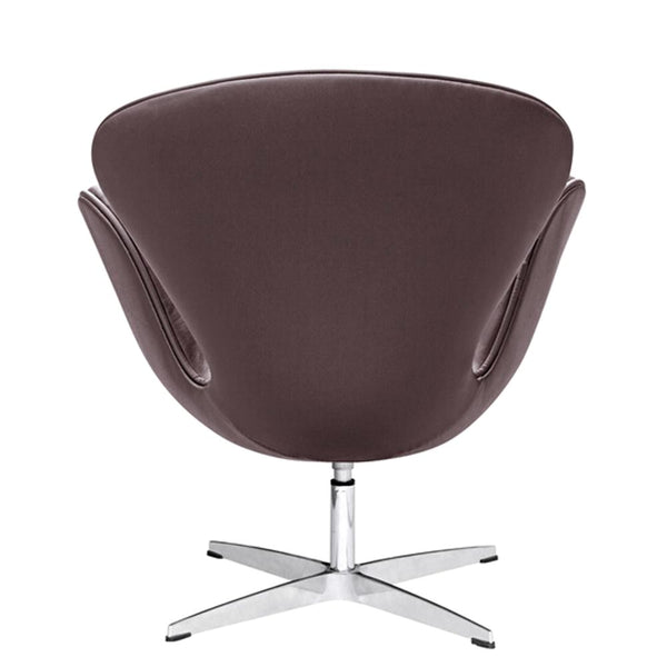 Swan Chair Leather Dark Brown Accent