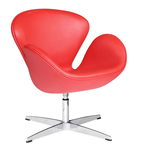 Swan Chair Leather Red Accent