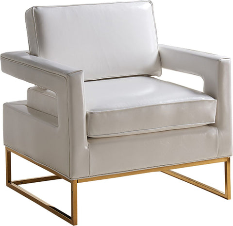 Amelia White Leather Accent Chair
