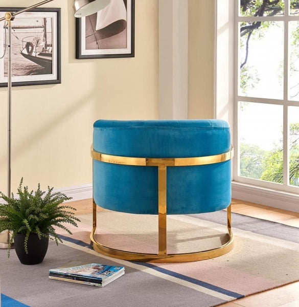 Carter Aqua Velvet Accent Chair Carter Aqua Velvet Accent Chair ...