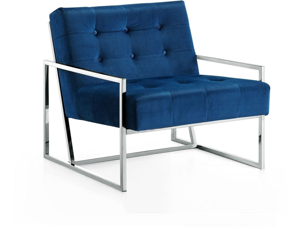 Buy meridian 522navy alexis chrome accent chair at contemporary furniture warehouse