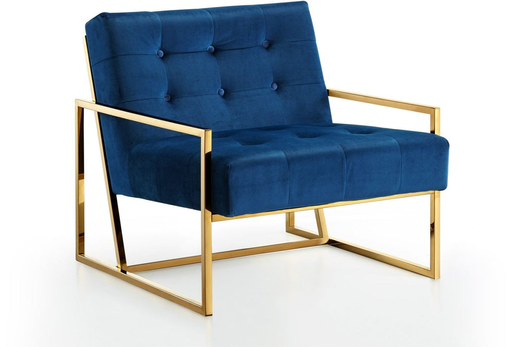 Buy Meridian 523navy Pierre Gold Accent Chair Navy Blue Velvet At