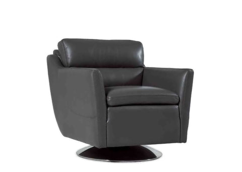 Clio Full Top Grain Leather Contemporary Chair Cool Grey Accent