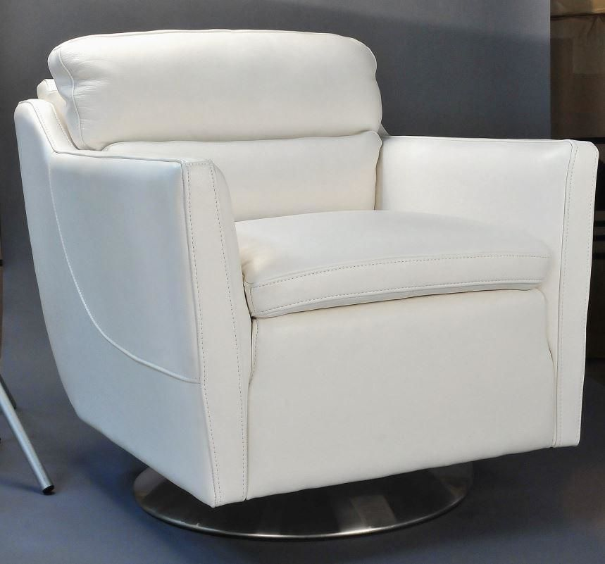 Clio Full Top Grain Leather Contemporary Chair Off White Accent